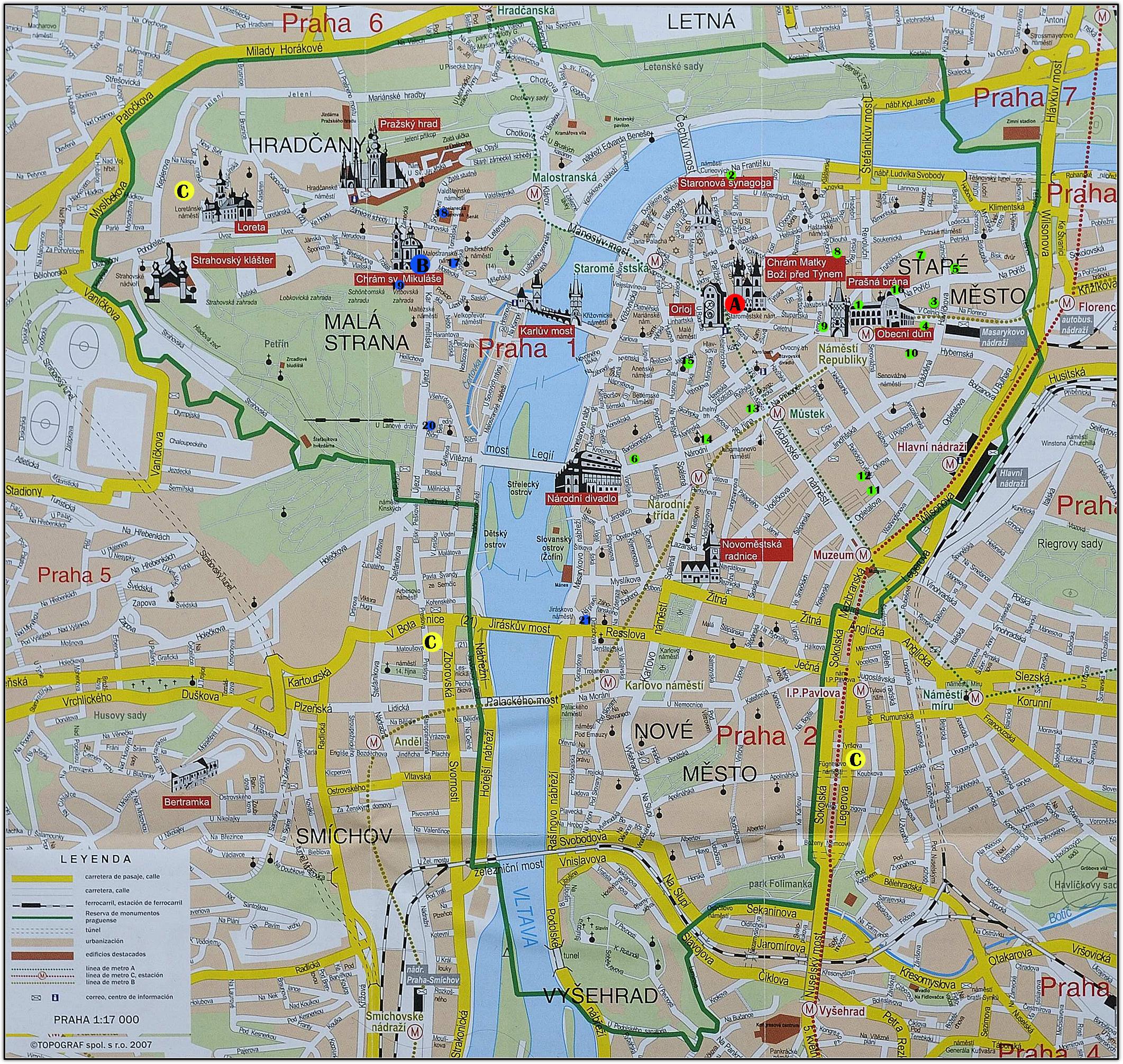 Hoteles en praga mapa for Hoteles en praga